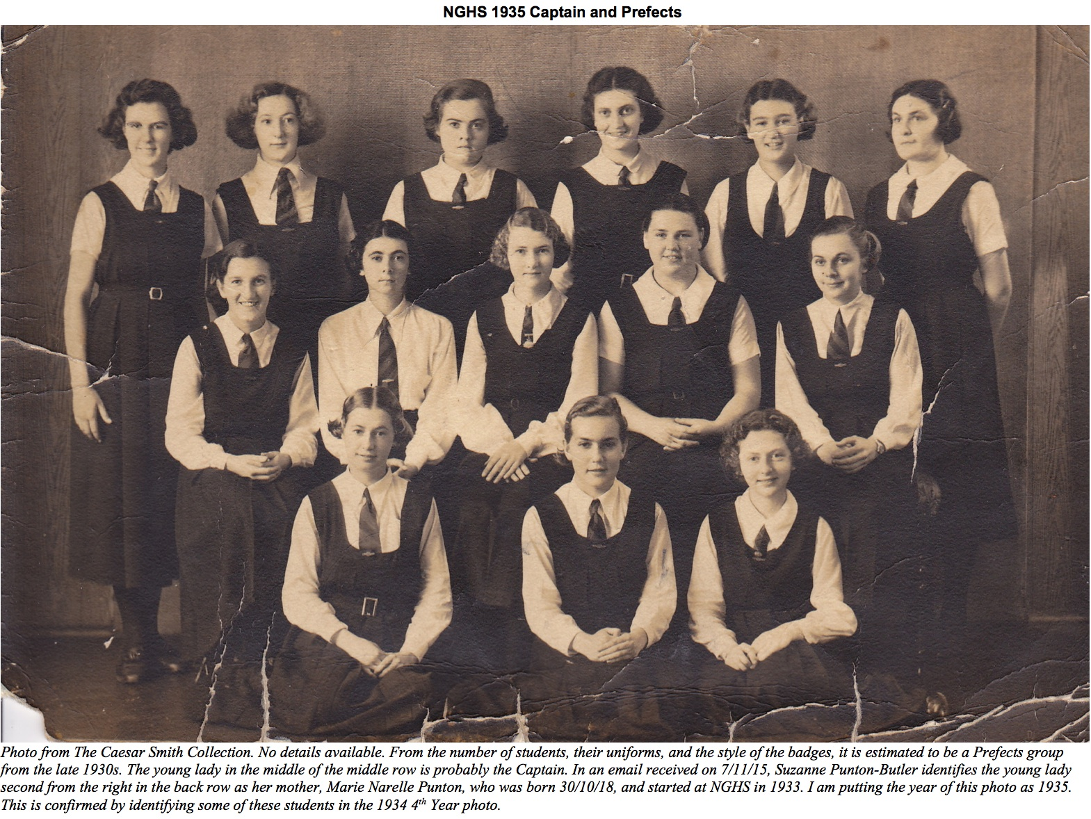 NGHS 1935 Captain and Prefects